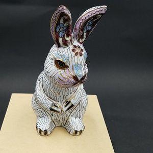 Vintage Cloisonne' Enamel Bunny Rabbit Figurine